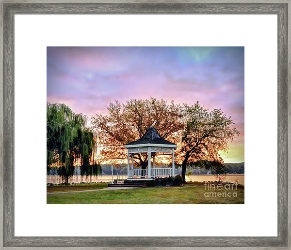 Gazebo Sunrise At Claytor Lake Framed Print
