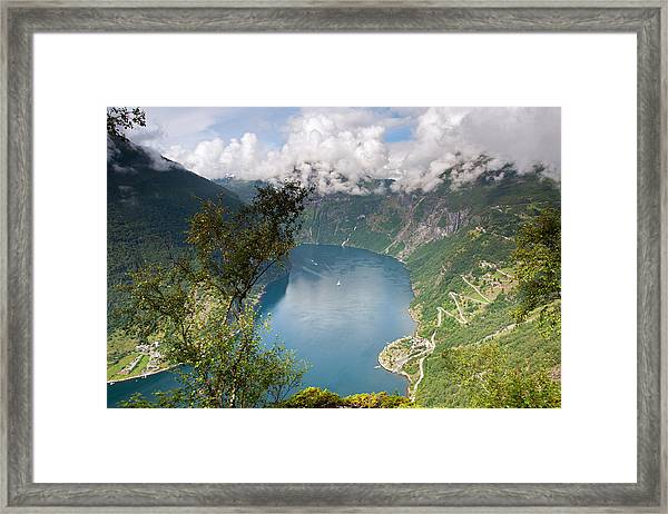 Geirangerfjord With Birch Framed Print