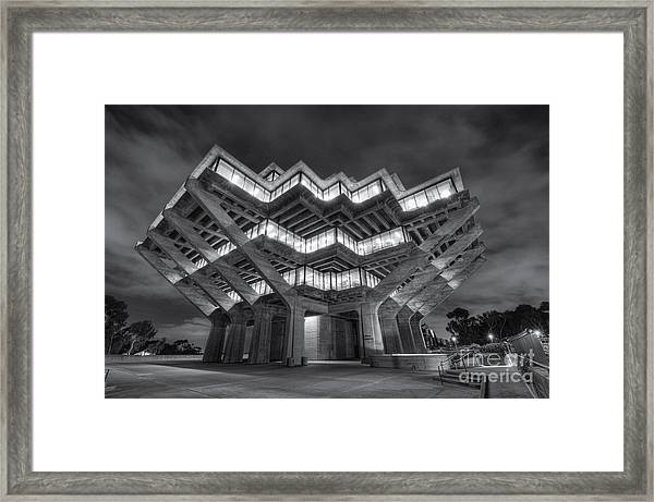Geisel Library In Black And White Framed Print