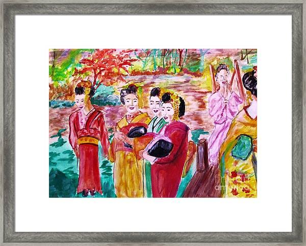Geisha Girl Friends Framed Print