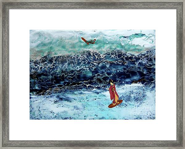 Geisha Surfing  Framed Print by Andy  Mercer