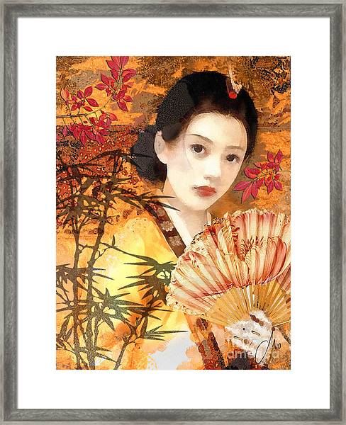 Geisha With Fan Framed Print