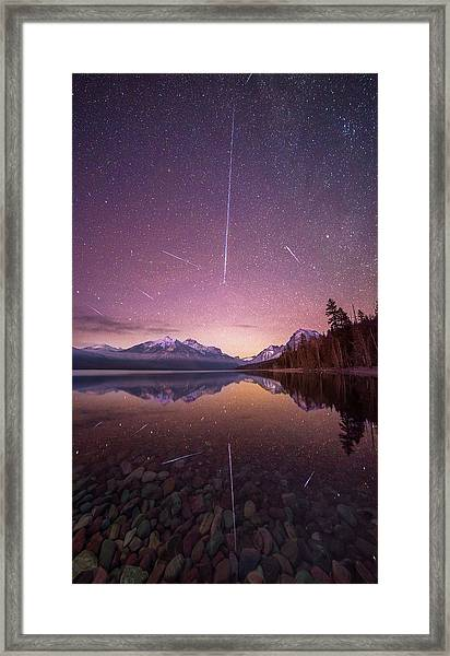 Geminid Meteor Storm // December 13th, 2017 // Lake Mcdonald, Glacier National Park Framed Print
