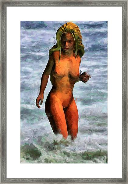 Genie Jumping Waves Framed Print