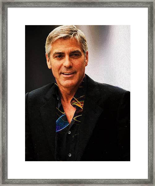 George Clooney Painting Framed Print