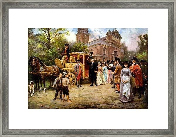 George Washington Arriving At Christ Church Framed Print