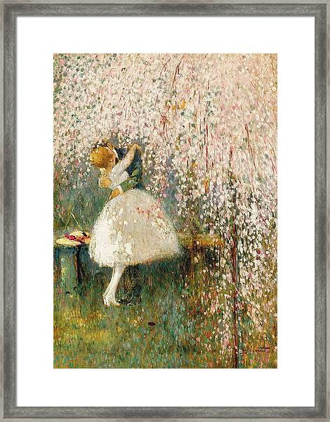 Georges Picard French 1857 1946 Romance Under The Blossom Tree Framed Print