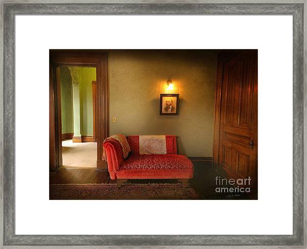 George's Red Sofa Framed Print