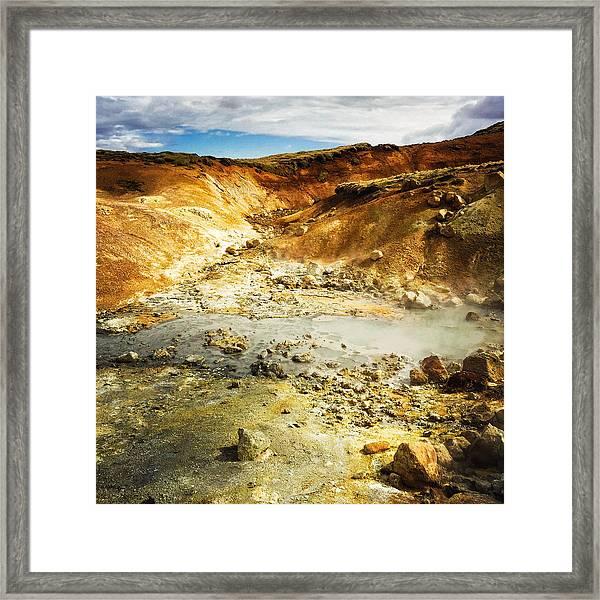 Geothermal Area In Reykjanes Iceland Framed Print