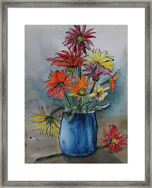 Gerberas In A Blue Pot Framed Print