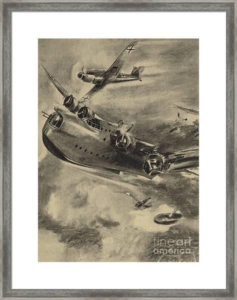 German Fighter Shooting Down A Short Sunderland Flying Boat, World War II  Framed Print