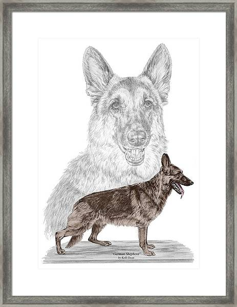 German Shepherd Art Print - Color Tinted Framed Print