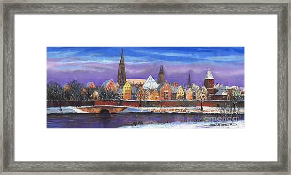 Germany Ulm Panorama Winter Framed Print