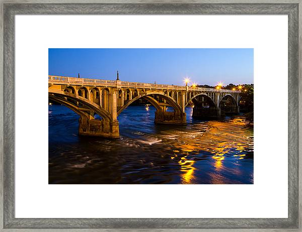 Gervais Street Bridge At Twilight Framed Print