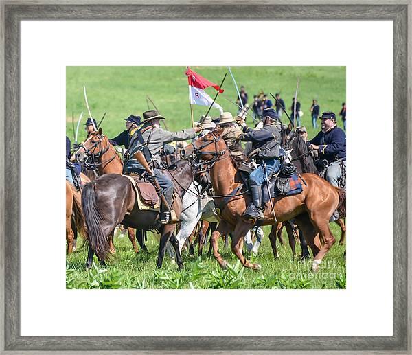Gettysburg Cavalry Battle 8021c  Framed Print