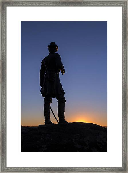 Gettysburg - Gen. Warren At Sunset Framed Print