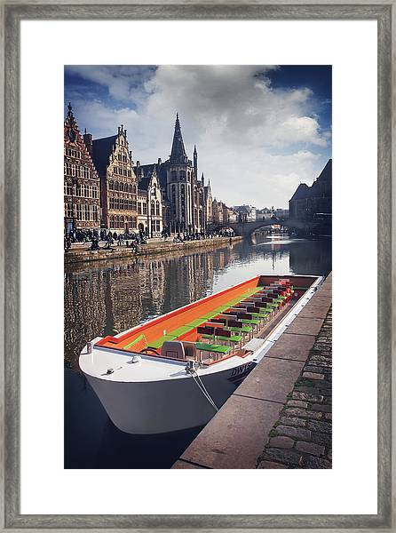Ghent By Boat Framed Print