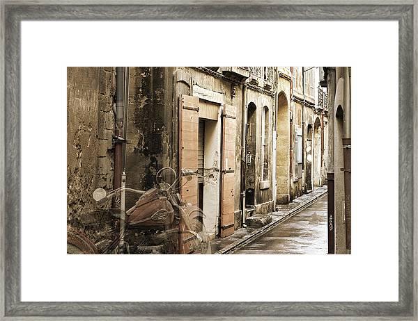 Ghost Harley On Narrow Street Framed Print