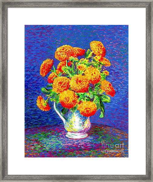 Gift Of Gold, Orange Flowers Framed Print