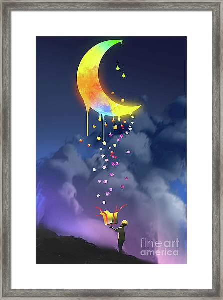 Framed Print featuring the painting Gifts From The Moon by Tithi Luadthong