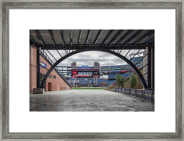 Gillette Stadium And The Four Super Bowl Banners Framed Print