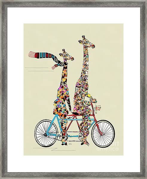 Giraffe Days Lets Tandem Framed Print