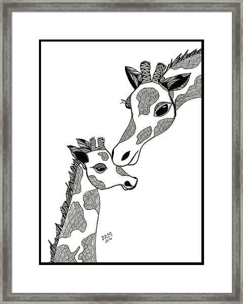 Giraffe Mom And Baby Framed Print