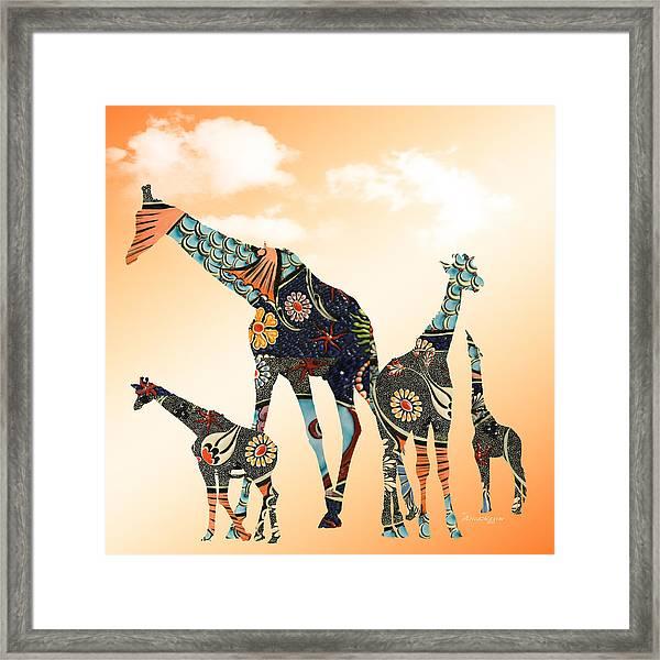 Giraffe Stroll Framed Print