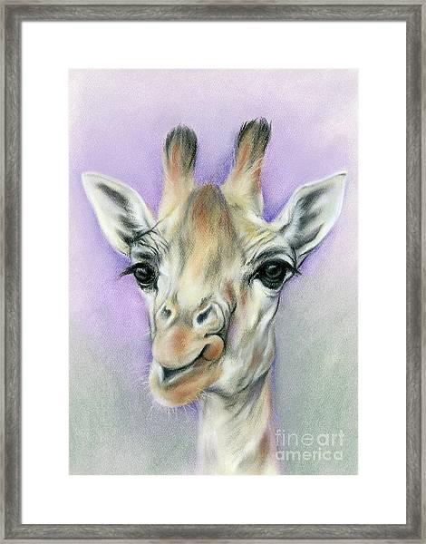 Giraffe With Beautiful Eyes Framed Print