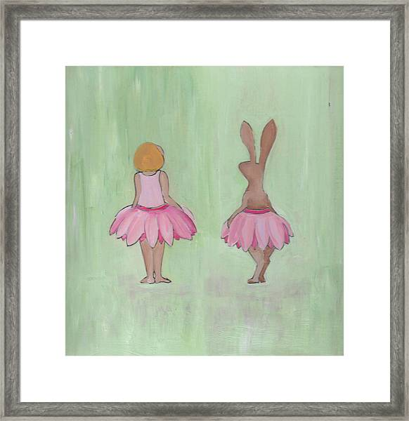 Girl And Bunny In Pink Tutus Framed Print