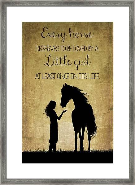 Girl And Horse Silhouette Framed Print