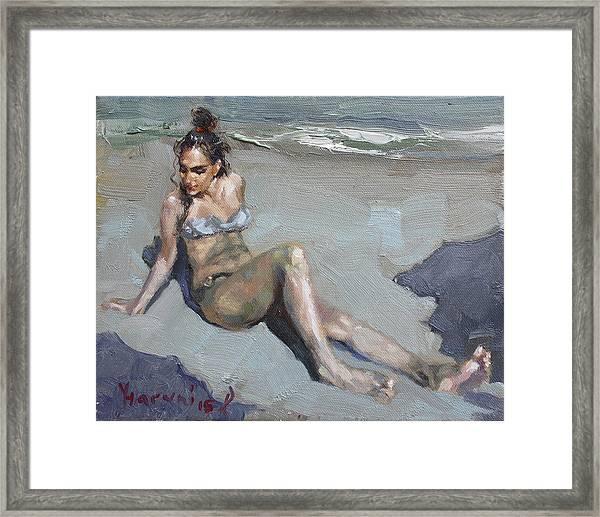 Girl At The Beach  Framed Print
