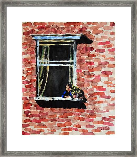 Girl At Window Framed Print