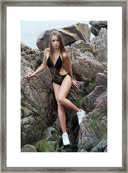 Girl In Black Swimsuit Framed Print