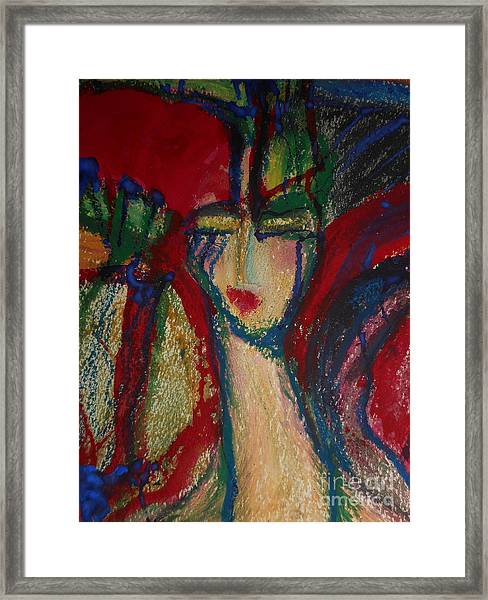 Girl In Darkness Framed Print