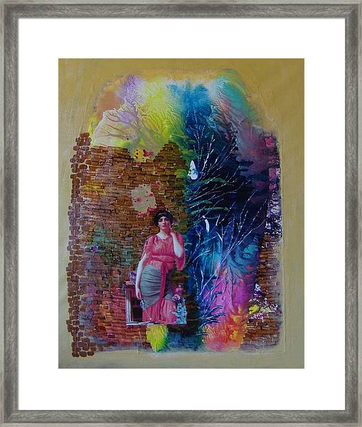 Girl In Front Of The Break Wall. Framed Print