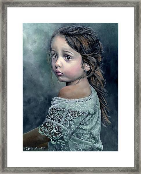 Girl In Lace Framed Print