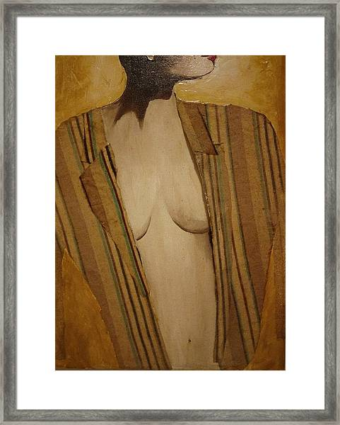 Girl In Man's Shirt Framed Print