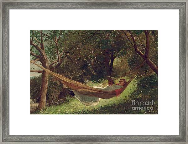 Girl In The Hammock Framed Print