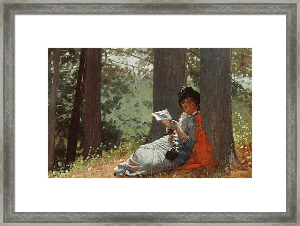 Girl Reading Under An Oak Tree Framed Print