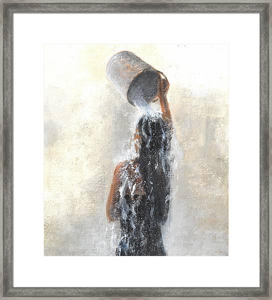 Girl Showering Framed Print