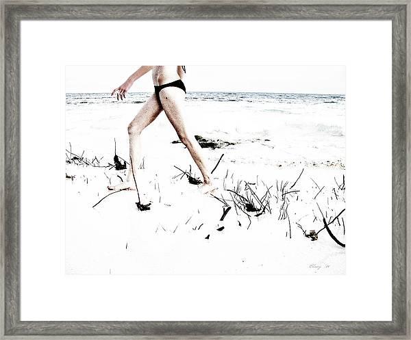 Girl Walking On Beach Framed Print