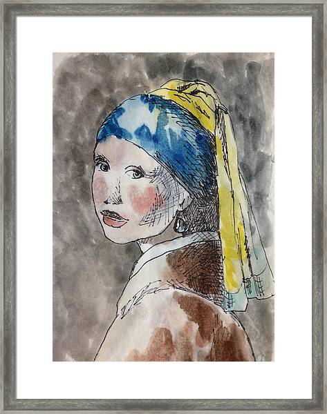 Girl With A Pearl Framed Print
