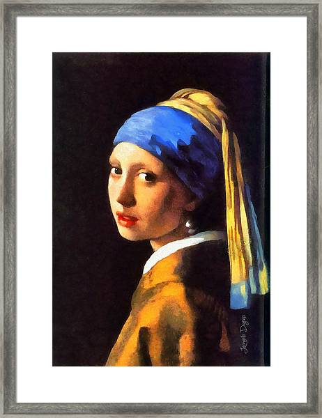Girl With A Pearl Earring By Johannes Vermeer Revisited - Da Framed Print