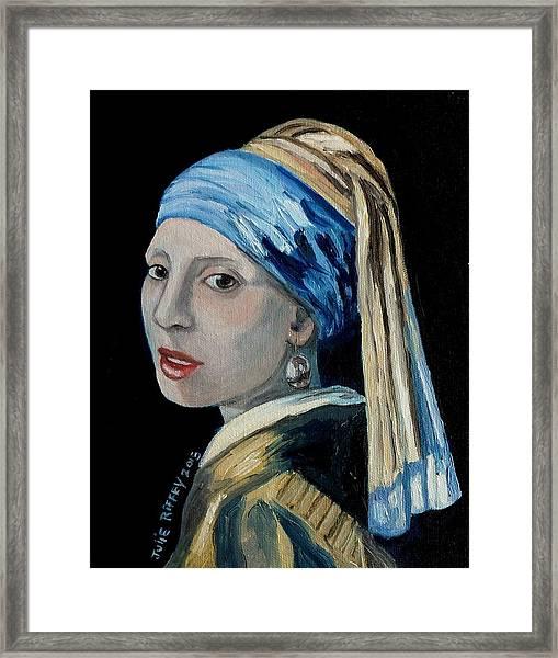 Girl With The Pearl Earring -inspired By Johannes Vermeer Framed Print