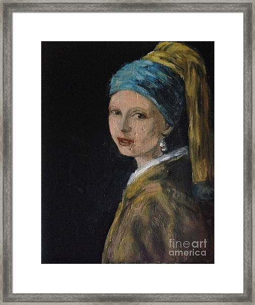 Girl With A Pearl Earring Variation  Framed Print