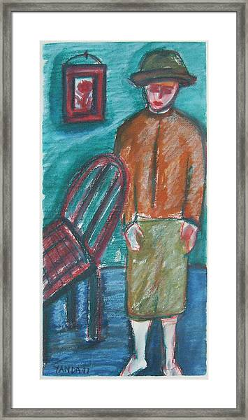 Girl With Chair Framed Print