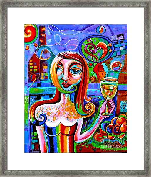 Girl With Glass Of Chardonnay Framed Print