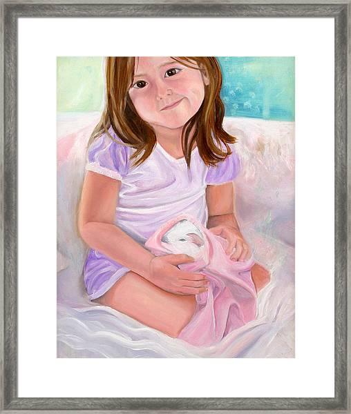Girl With Guinea Pig Framed Print