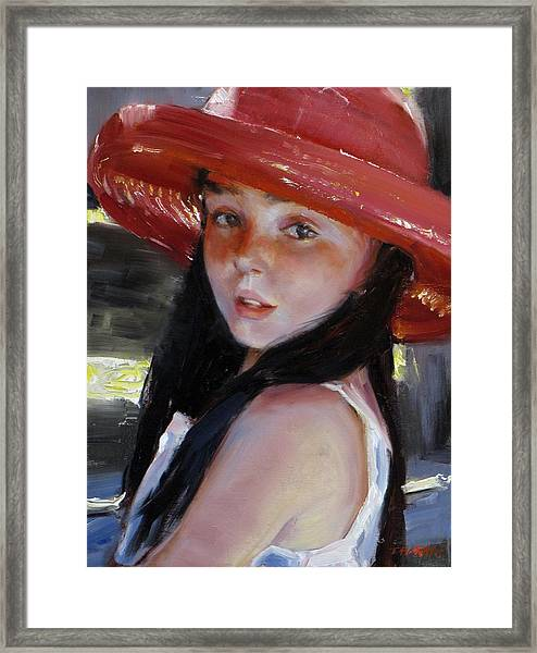 Girl With Red Hat Framed Print